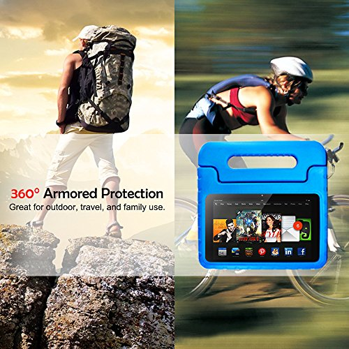 AFUNTA Tablet 7 2015 Case,Light Weight Shock Proof Convertible Handle Stand EVA Protective Kids Case for 7 inch Display Tablet (5th Generation - 2015 Release Only)-Blue by AFUNTA (Image #6)'