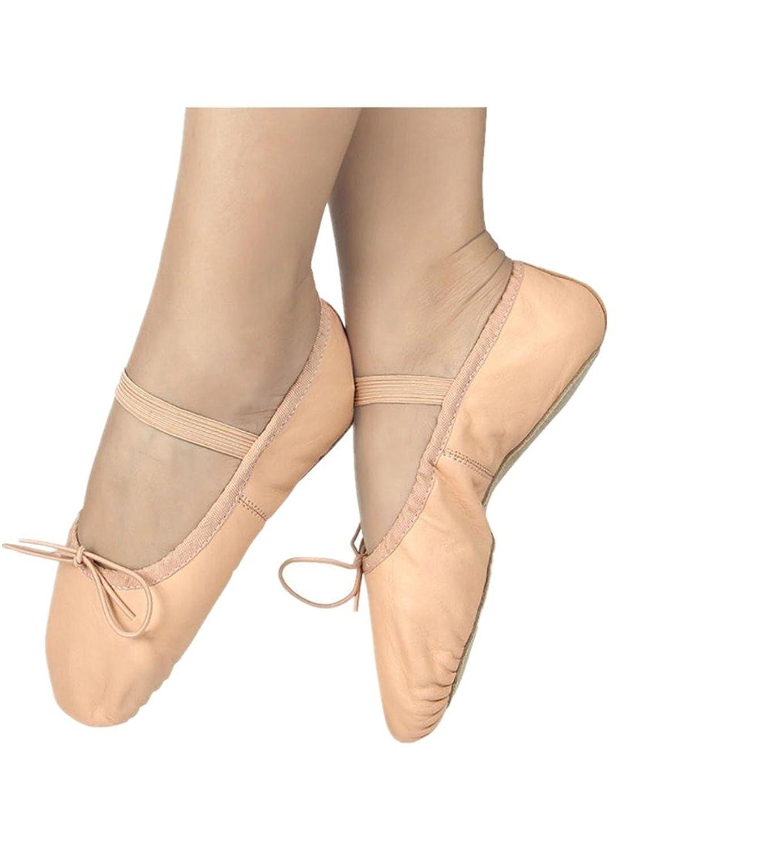 Sunward 2017 Girls Leather Ballet Slipper//Ballet Shoe//Yoga Shoe Toddler//Little Kid//Big Kid