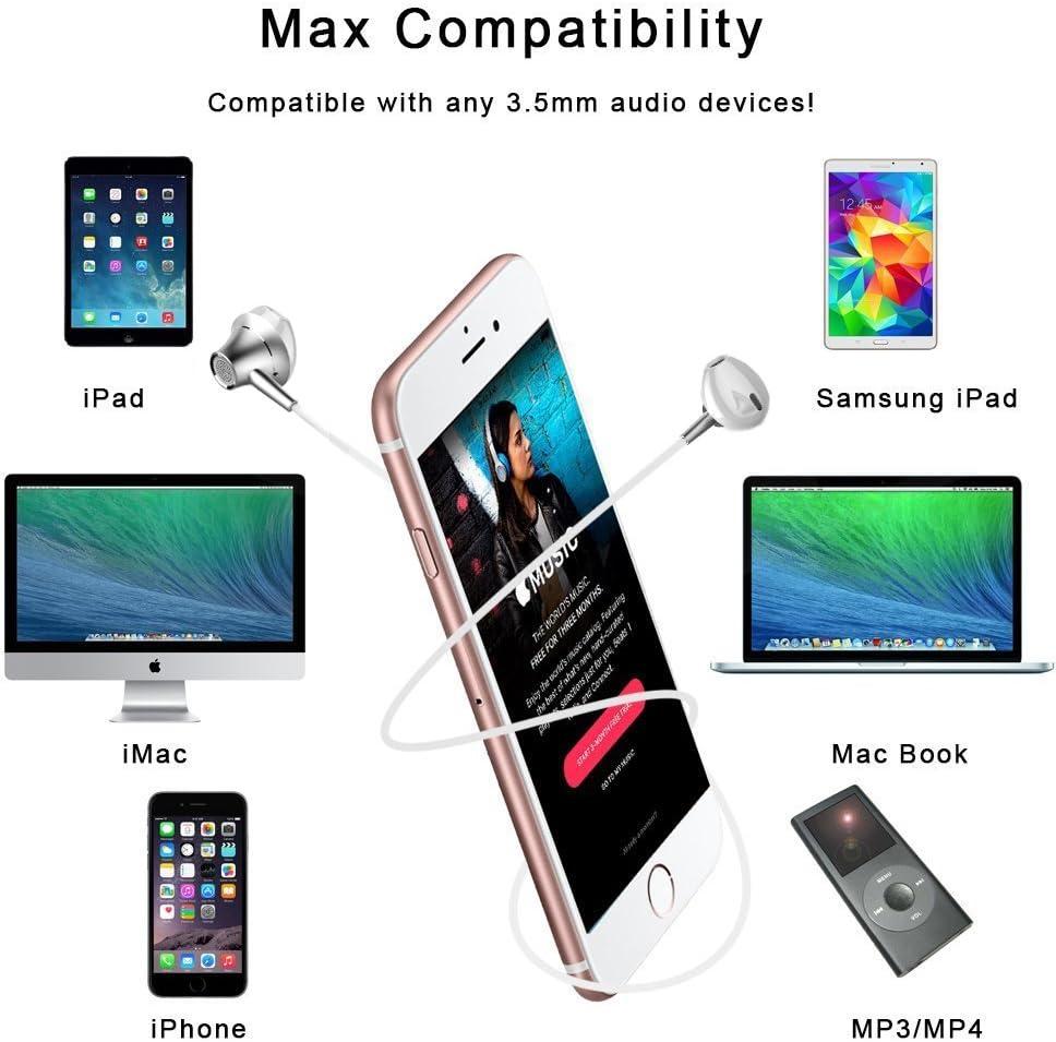 Auriculares In-Ear Sonido Estéreo, Auriculares con Micrófono y Control en Cable para iPhone 6/6s/SE,Samsung Galaxy J5 / S8 / S9, Xiaomi Redmi Note 5, Huawei Mate, Leagoo, CUBOT, de 3,5mm Dispositivo: Amazon.es: