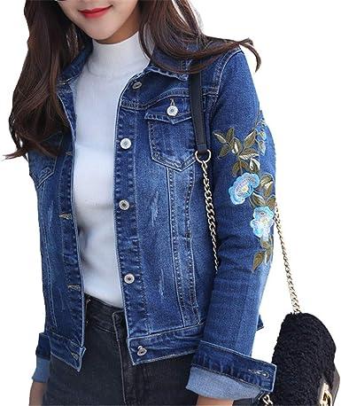 Mujer Chaqueta Vaquera Básica Casual Chaquetas de Mezclilla Manga Larga Cazadoras Vaquera Boyfriend Abrigo Denim Jacket Flores Bordadas Azul 2XL: Amazon.es: Ropa y accesorios