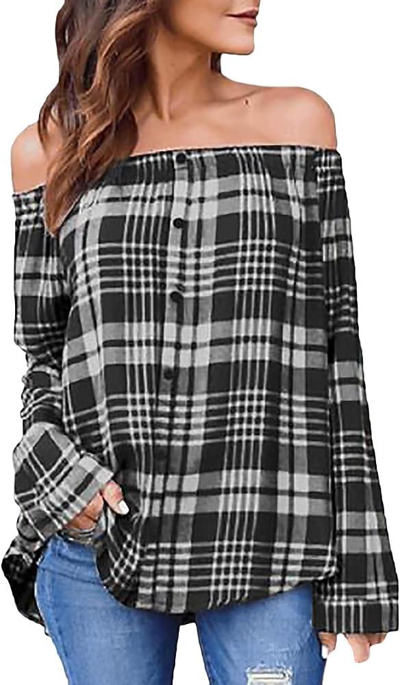 Otoño Blusas Mujer Manga Larga Elegante Camiseta Larga Señoras De Escisión Único Mode De Marca A Cuadros Tops Camisa Mujer Anchas Casual Camisas Manga Largo Cuello De Barco Blusas Mujer Camisas: Amazon.es: