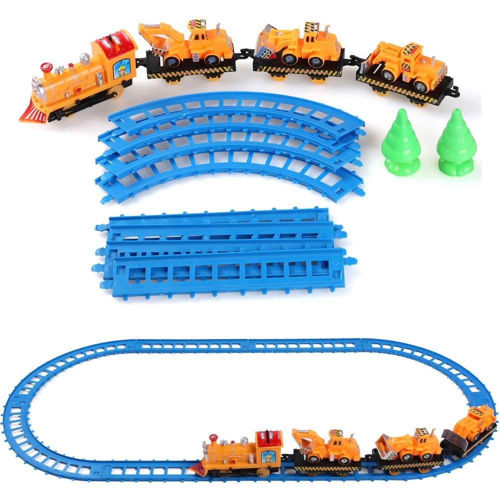 ECCRIS 鉄道交通玩具 電車とトラックの遊びセット 子供用 イエロー B07H7YVVKW Contruction Truck and Train Play Set