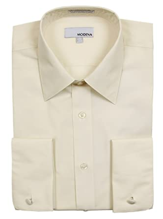 Mens Modena Solid Cream French Cuff Dress Shirt 24 4-5 at Amazon ...
