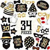PartyGraphix DIY 30th Birthday Party Photo Booth Props Kit – Suitable for His or Hers 30th Birthday Celebration Photo Booth. 34 Piece Kit Includes Black and Gold Props on a Stick