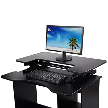 Office Furniture Shop For Cheap Height Adjustable Standing Desk Extra Large Table Top Stand-up Desk Detachable Keyboard Tray 19 Wide Platform Computer Desks