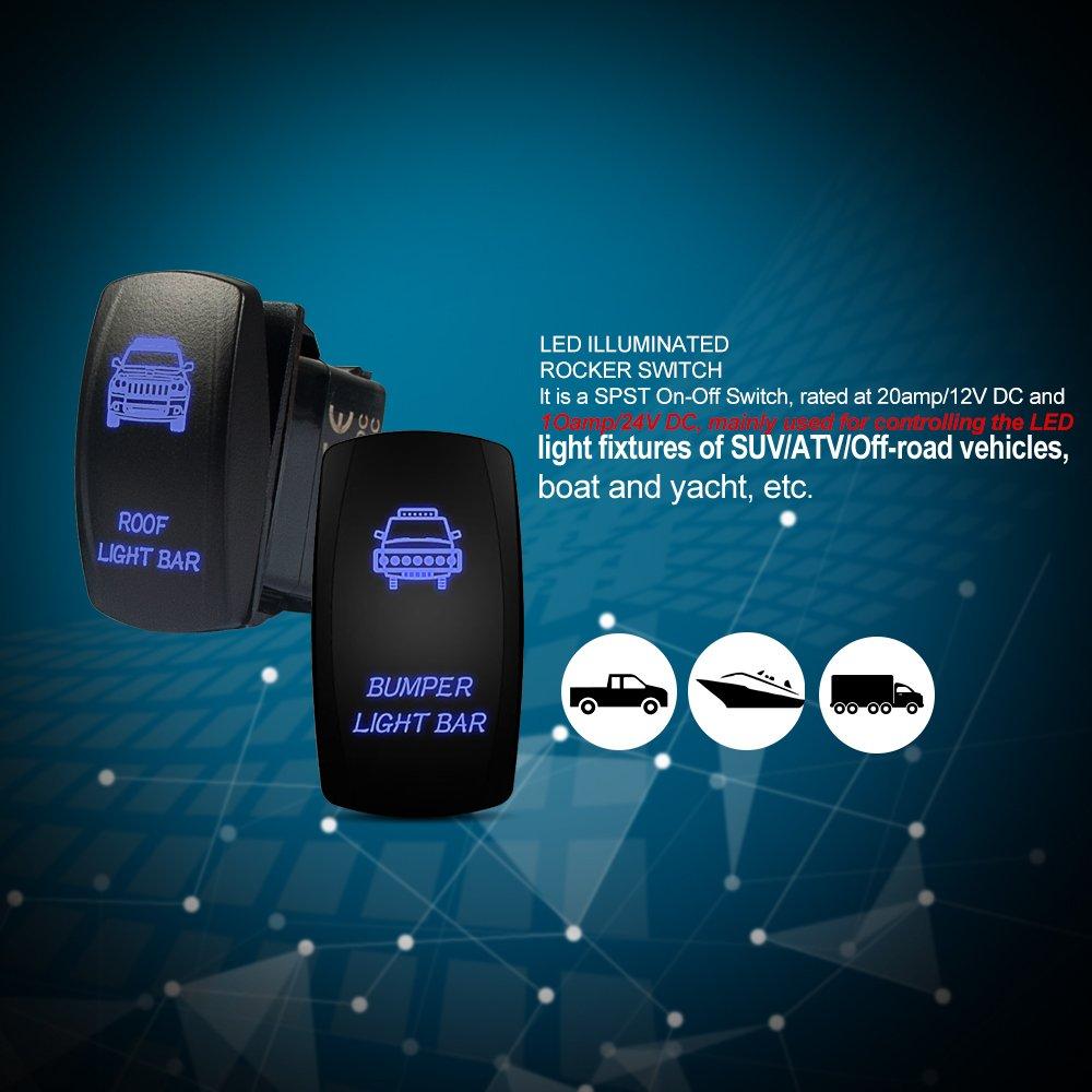 2014 Rocker Switch UTV Polaris RZR RZR4 XP1000 XP900 800 On Roof Light SPST LE