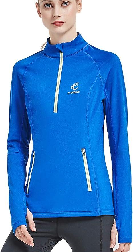 Women Thermal Long Sleeve Running Top 1//4 Zip Winter Workout Ladies Hoody
