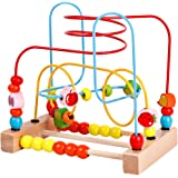 Wooden Fruits Bead Maze Roller Coaster Game Educational Toys for Toddlers