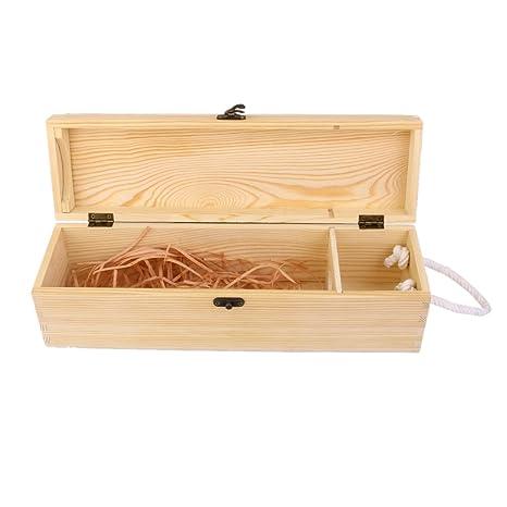 Caja Portadora Madera para Vino Botella Decoración Regalo 35x10x10cm