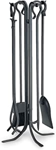 "Pilgrim Home and Hearth 18002 Forged Iron Set Fireplace Tools by Pilgrim, 33"" Tall, Matte Black"
