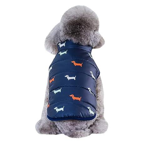 Fossrn Invierno Ropa Perro Pequeño Chihuahua Yorkshire Abrigo de Chaqueta Mascota Chaleco de Botón S~