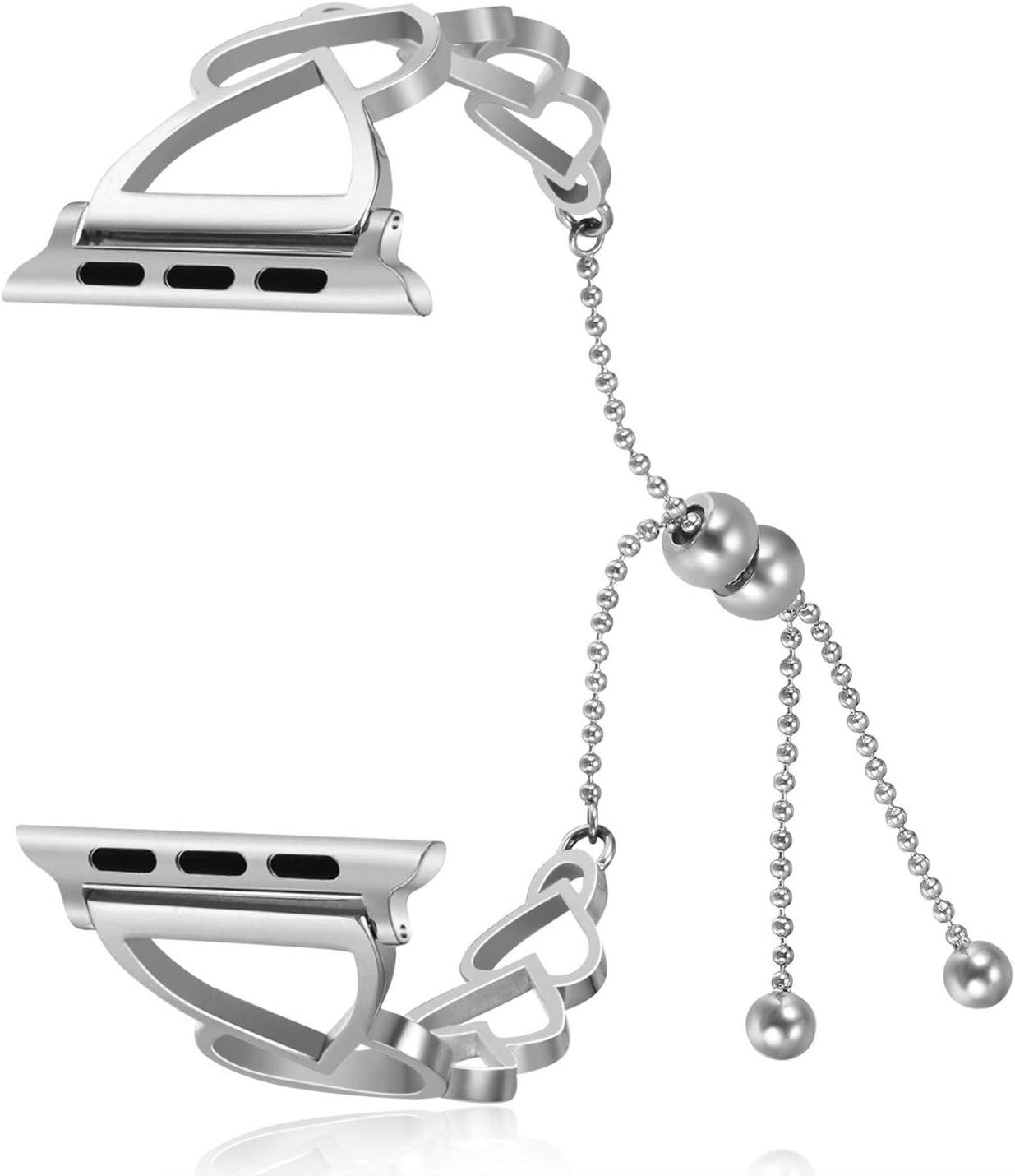 MeganStore Pulsera Compatible para Apple Watch Band 38 mm 40 mm 42 mm 44 mm, Love Heart Hollow out Acero Inoxidable joyería Brazalete Correa de Repuesto para iWatch Series 4, 3, 2, 1