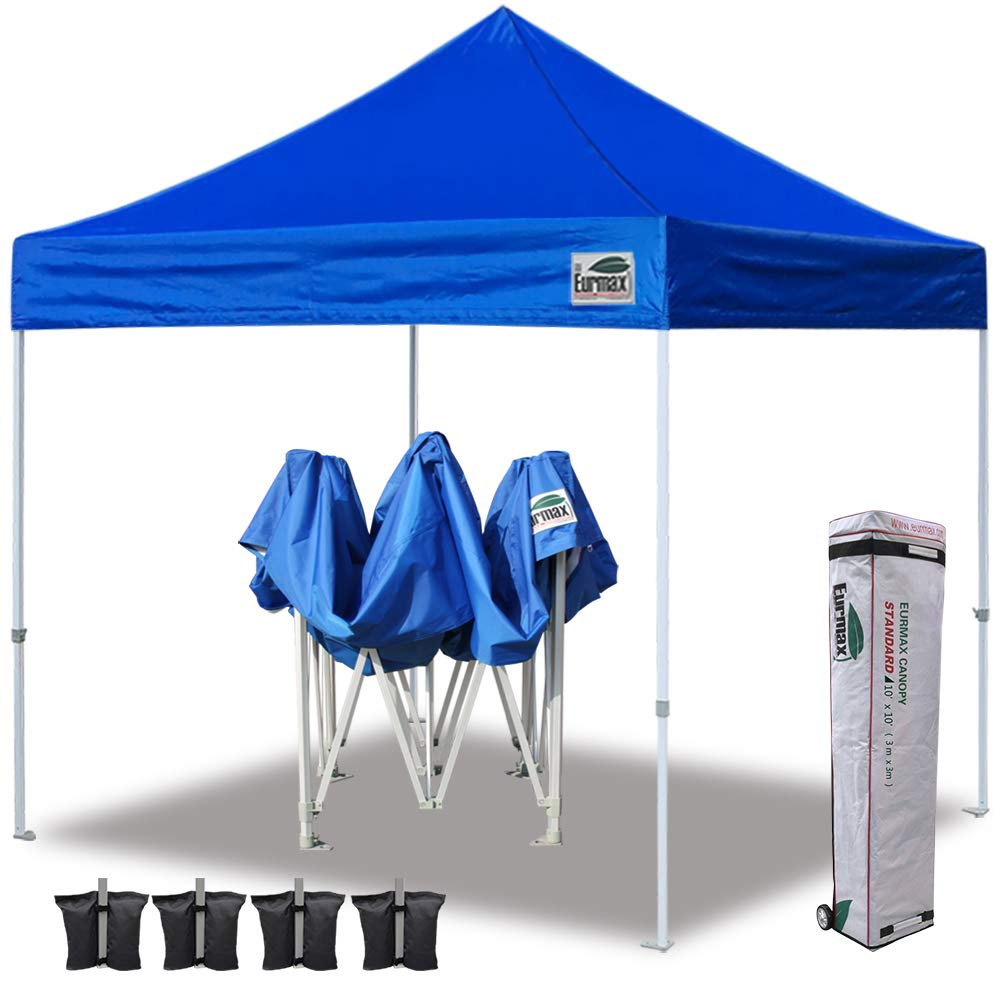 Eurmax 10 x 10 Ez Pop Up Canopy Tent Commercial Instant Canopies with Heavy Duty Roller Carry Bag,Bonus 4 Canopy Sand Bags Aquamarine Blue