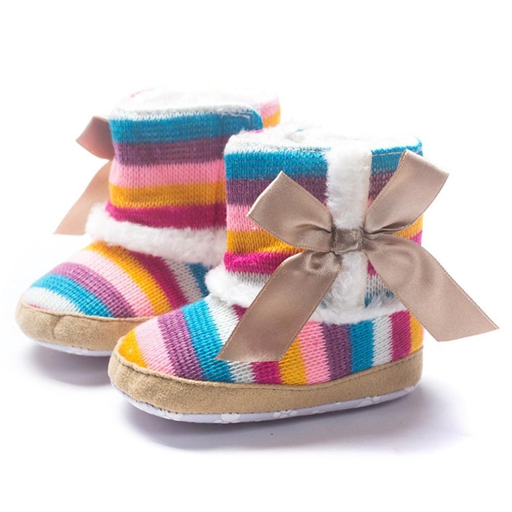 Sunward Baby Premium Soft Sole Bow Anti-Slip Warm Winter Infant Prewalker Toddler Snow Boots