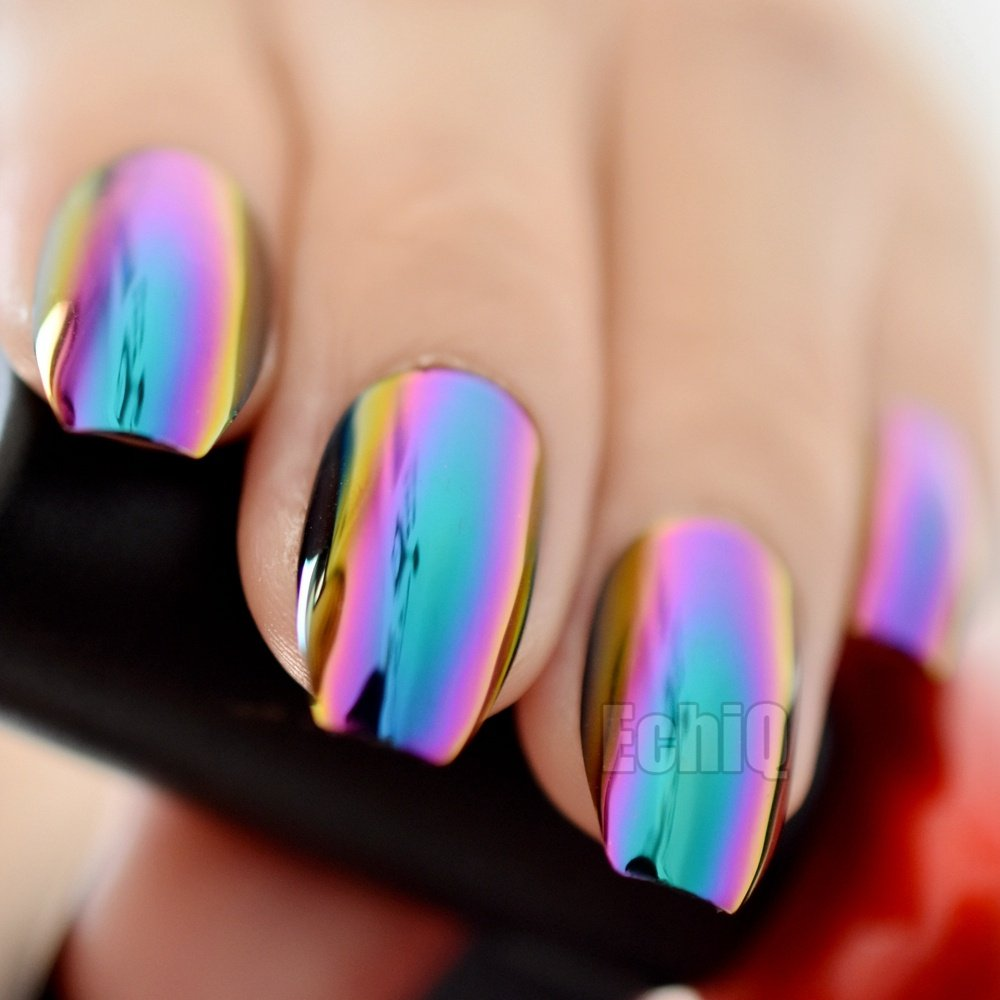 Super Holographic Blue Purple Coffin Nails Mirror Chrome Square Ladies Fake Nails Quality Tips for fingers