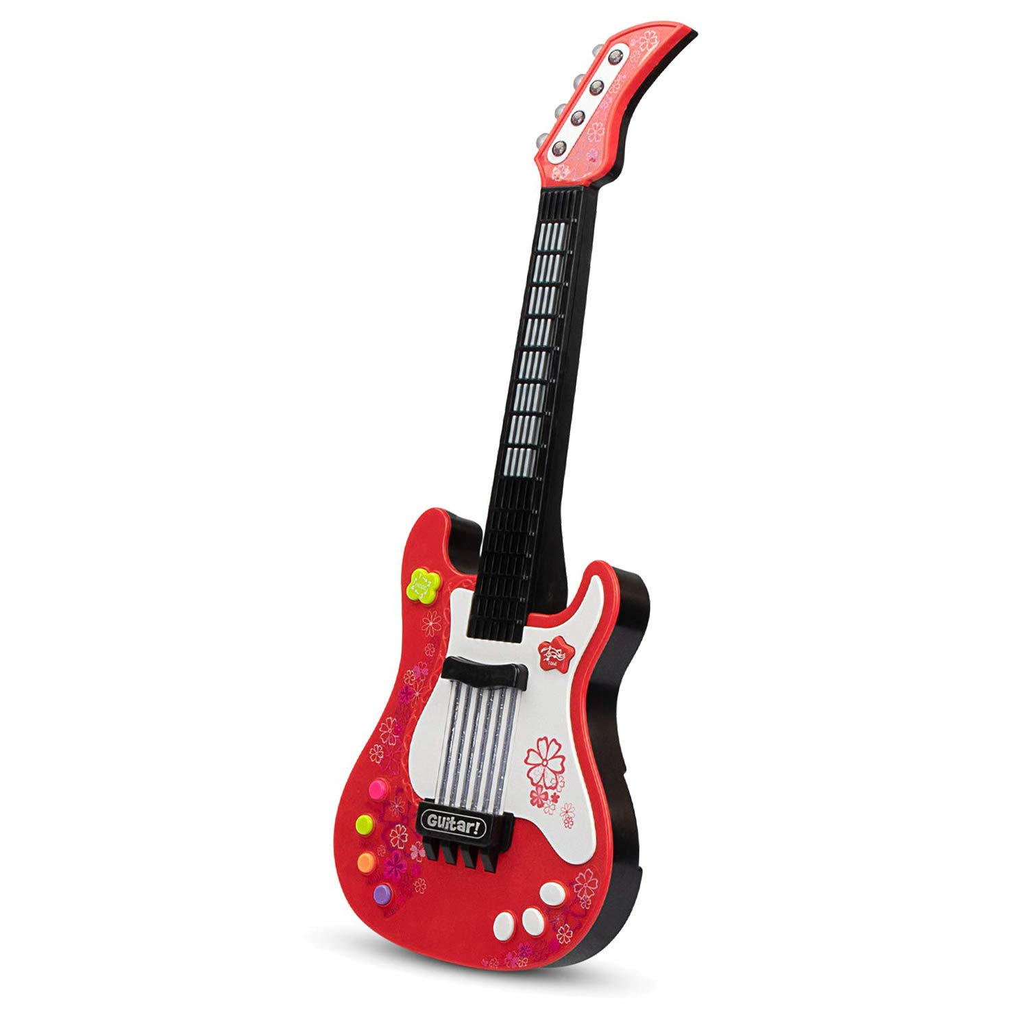 aPerfectLife Kids Electric Guitar Toys with Vibrant Sounds No String Musical Instruments Educational Toy for Beginner Boys Girls Toddlers (Red) by aPerfectLife