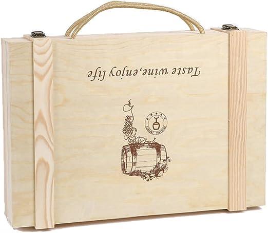 Lshky Retro Caja De Vino Madera Seis Botellas Color del Registro con Cerradura De Metal Y