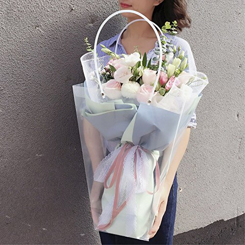 BBC Clear Flower Bouquet Bags with Handle Florist Shop Packaging Supplies, 5 Pcs (11.4 * 5.9 * 16.7inch)