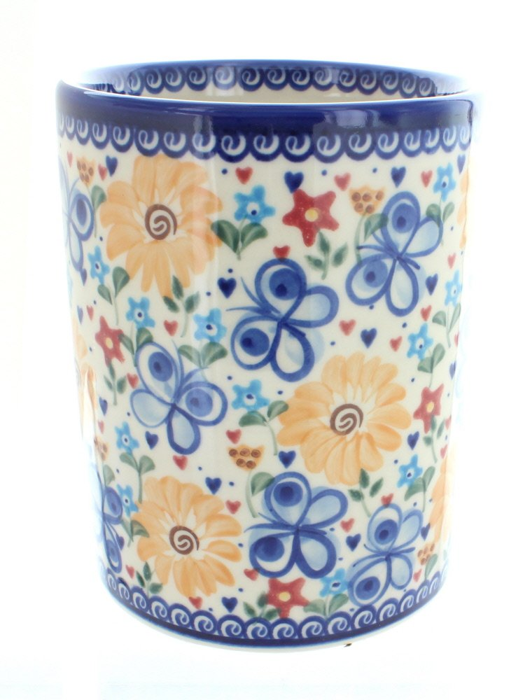 Blue Rose Polish Pottery Butterfly Utensil Jar
