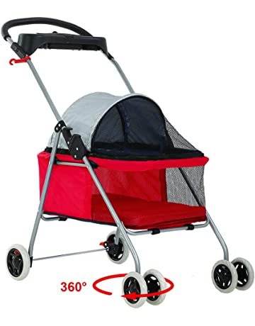 8ed9f44c4f BestPet Pet Stroller 4 Wheels Posh Folding Waterproof Portable Travel Cat  Dog Stroller with Cup Holder