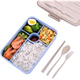 Bento Box for Adults,Lunch Box Container for Kids,5 Compartments Portion Lunch Box,Food-Safe Materials,BPA-free,Leak-proof (Blue)