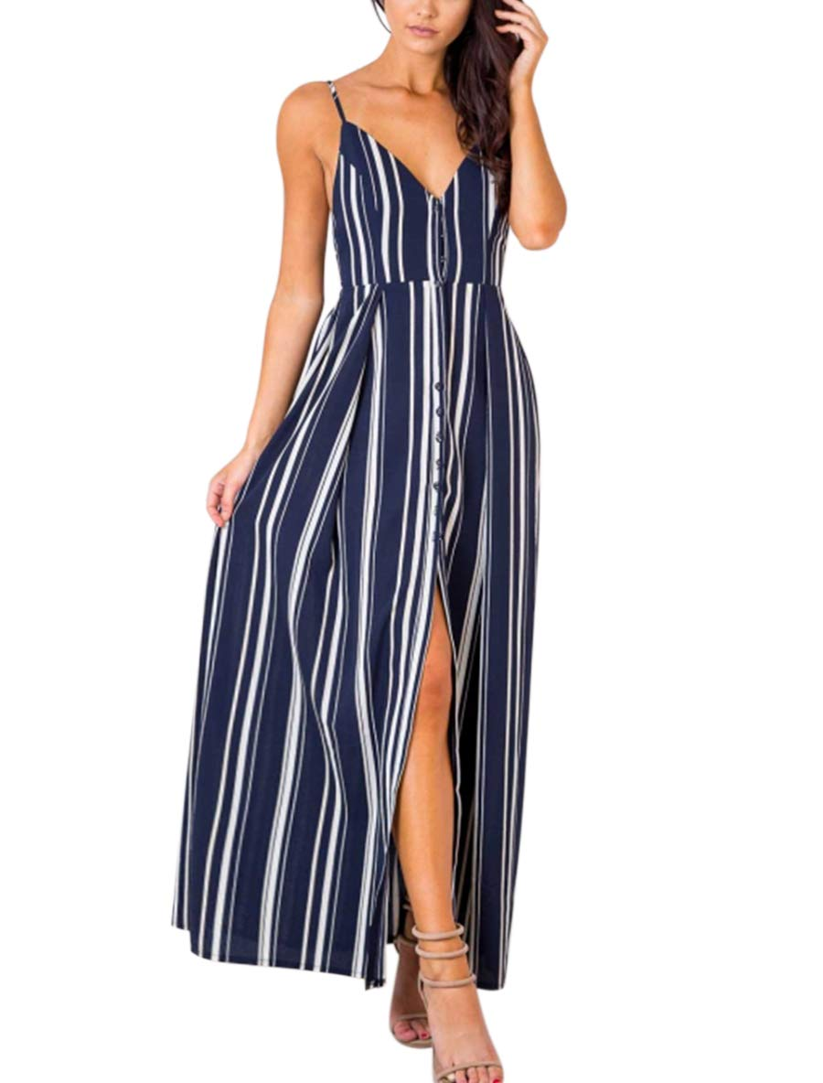 Blooming Jelly Women's Striped V Neck Dress Tie Strappy Elastic Waist Summer Maxi Dress