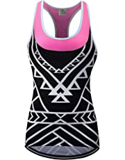 Lo.gas Women s Geometric Print Cycling Tank Riding T-Back Tops with Back  Pockets c0f3fcfb2
