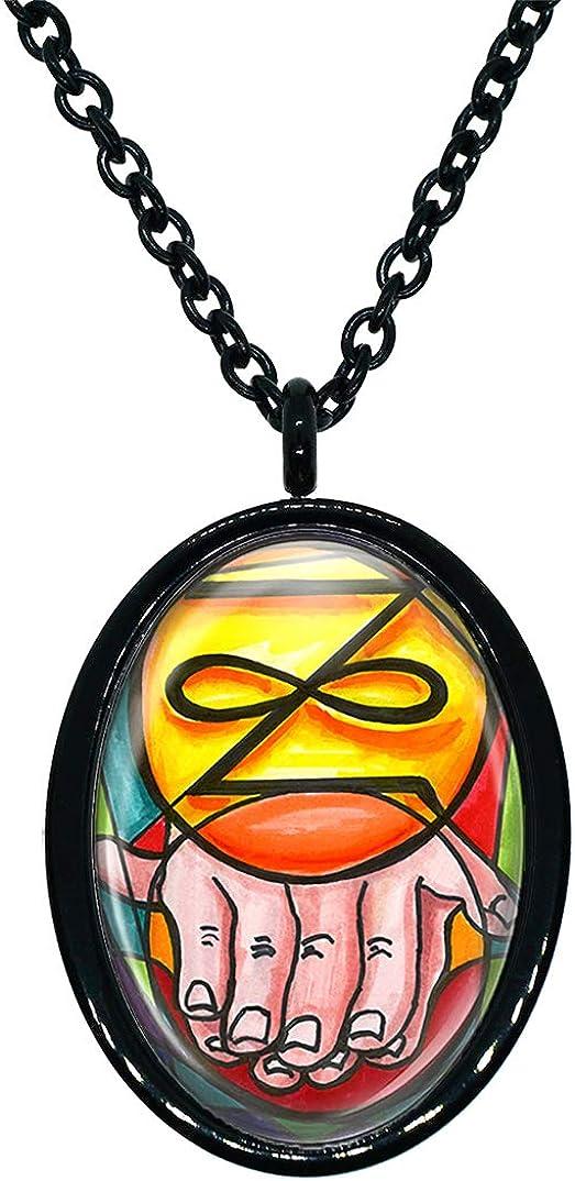 My Altar Zonar Karuna Reiki Eternity Black Stainless Steel Pendant Necklace