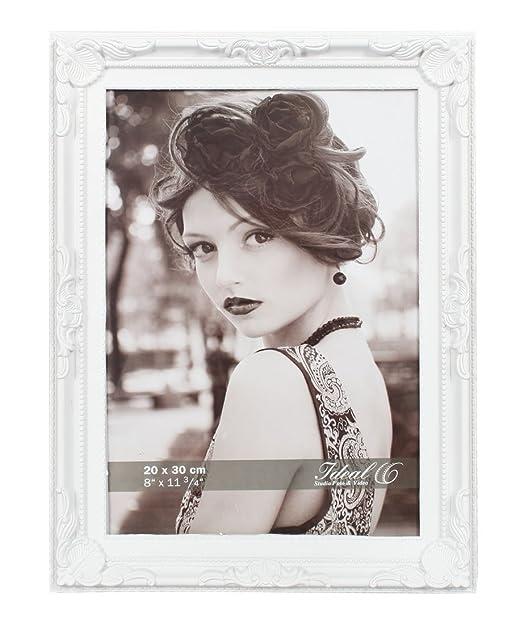 Barock Bilderrahmen Kunststoff In 13x18 20x30 Weiß Schwarz Bild Foto Rahmen:  Farbe: Weiß |