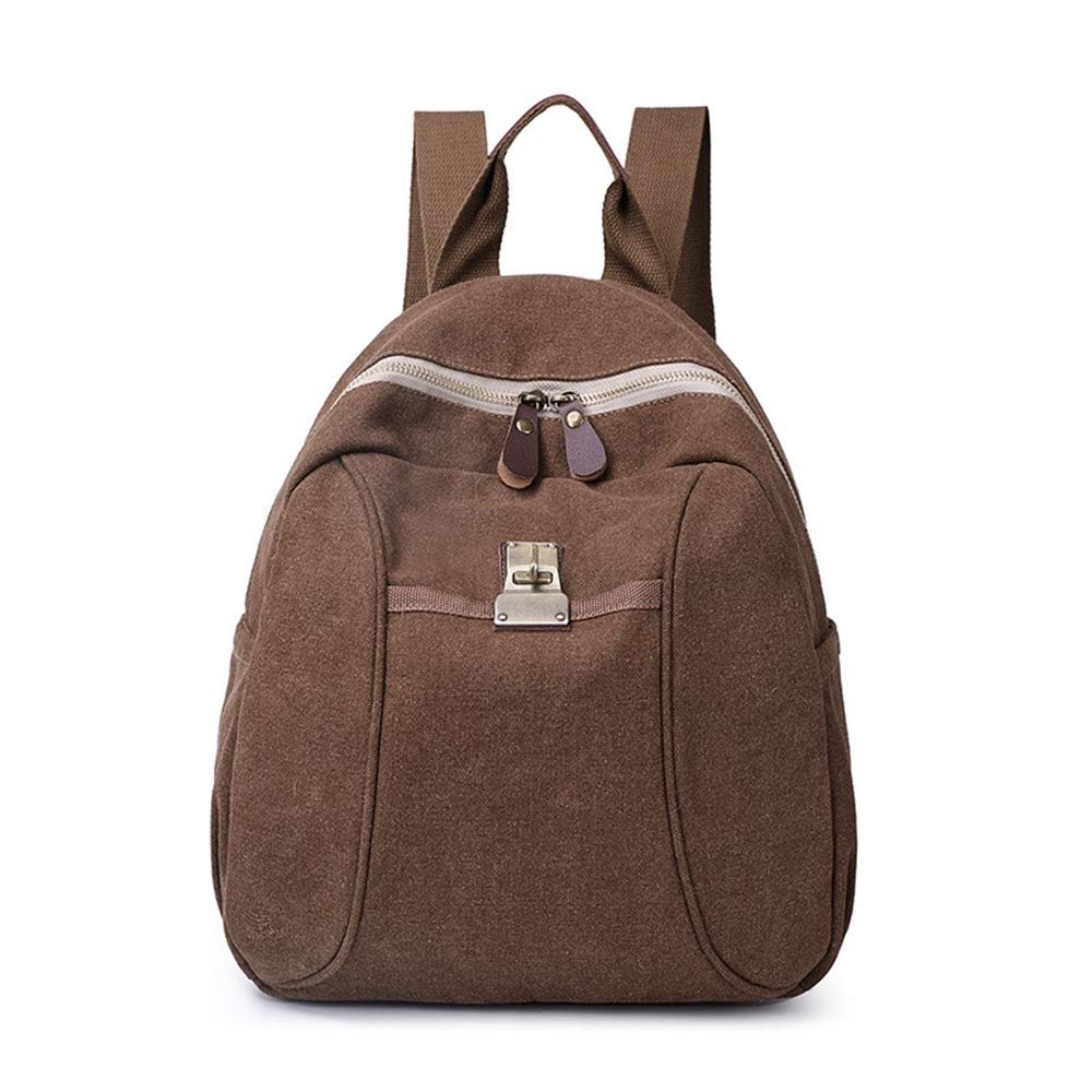 Sytian Vinatge Style Simple But Fashion Design Canvas Shcool Bag Laptop Backpack Travel Backpack (Coffee)
