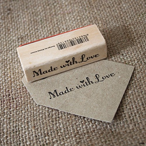 - Made With Love Wooden Rubber Stamp - Craft / Scrapbooking / Handmade Tags