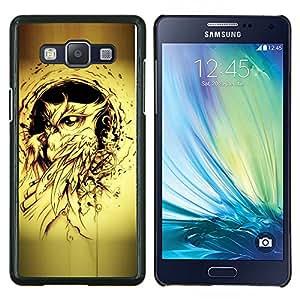 KLONGSHOP // Cubierta de piel con cierre a presión Shell trasero duro de goma Protección Caso - pájaro búho pintura de tinta negro tatuaje amarilla - Samsung Galaxy A5 A5000 //