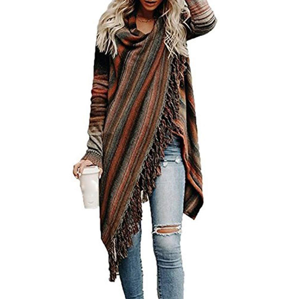 Cape Damen Fashion L/ässige Vintage Poncho Herbst Winter Umhang Langarm Quaste Unregelm/ä/ßig M/ädchen Kleidung Asymmetrisch Dicke Warm Umschlagtuch Outerwear
