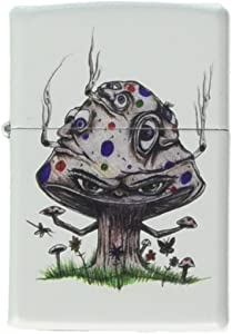 Zippo Custom Lighter - Smoking Mushroom Shroom Psychedelic Eyes Faces White Matte Limited Edition Very Rare! - Gifts for Him, for Her, for Boys, for Girls, for Husband, for Wife, for Them