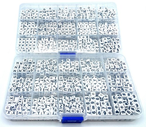 Bead Kit Heart - Pre-Sorted Cube Letter and Number Beads in Two Plastic Storage Boxes (6mm 1540 pcs, White - Black Letters)