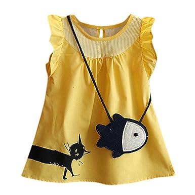 Vestido de niña, riou Vestidos para Bebés Ropa Gato de Dibujos ...