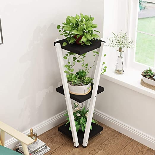 Puesto de plantas Soporte de flores vertical de tres niveles ...
