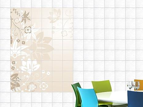 Adesivi piastrelle adesivo per cucina con motivo floreale fiori