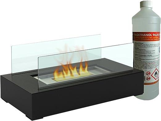 Chimenea/vidrio de mesa decorativa Incluye 1 L de etanol ecológico ...
