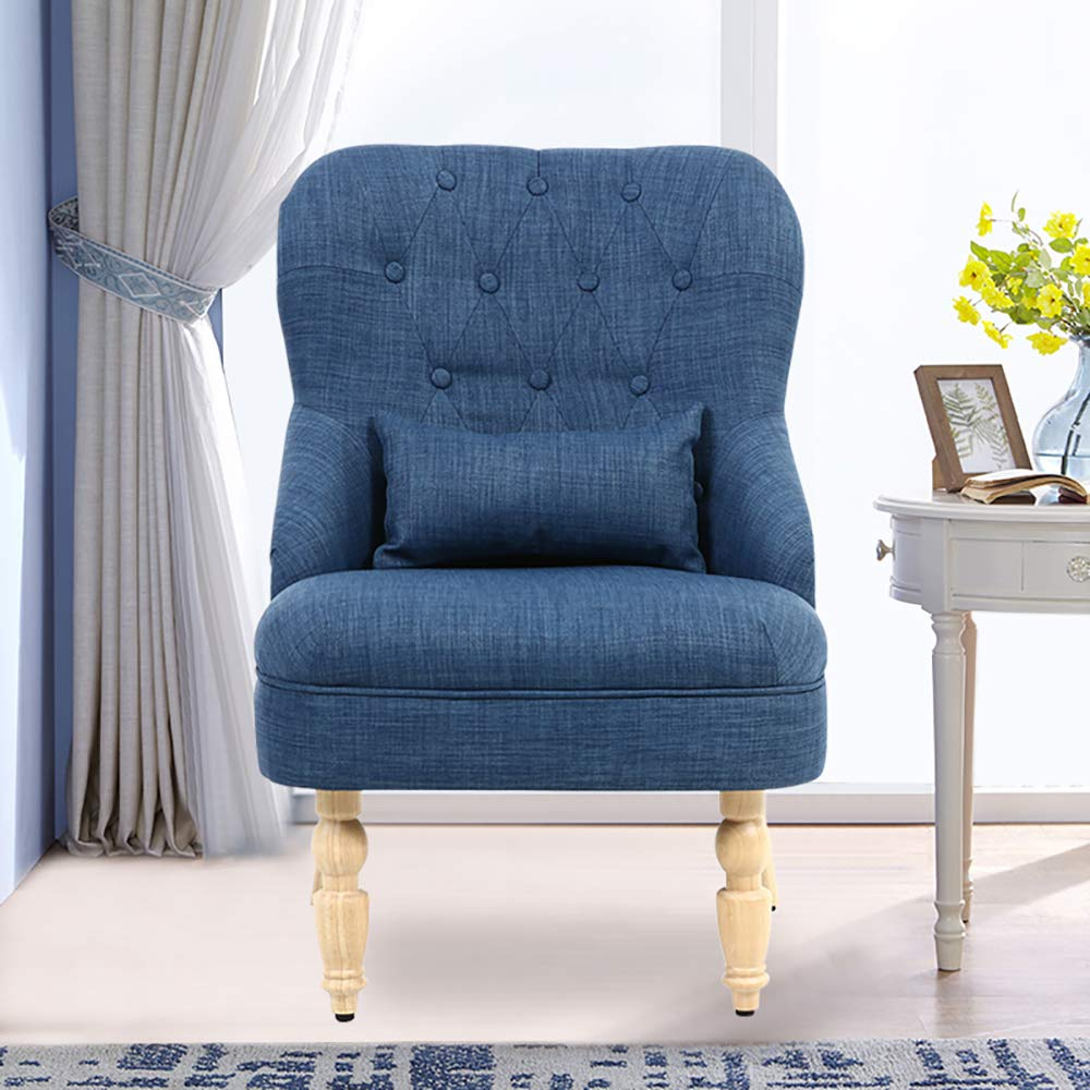 INMOZATA Modern Linen Fabric Tub Chair Occasional Buttoned Armchair Wing Back Accent Chair for Living Room Bedroom Reception Room Blue
