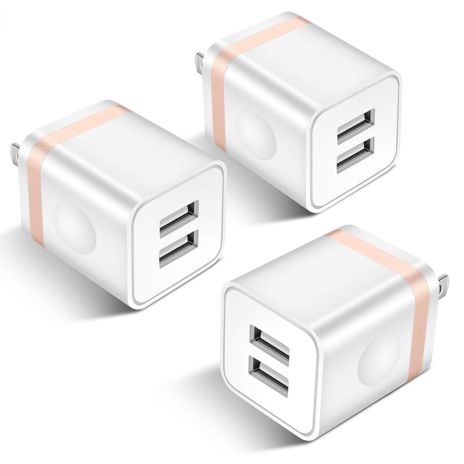 ARCCRA USB Wall Charger, 3-Pack 2.1A Dual Port USB Power Adapter Wall Charger Plug Charging Block Cube Compatible with Phone Xs Max/Xs/XR/X/8/7/6 Plus/5S/4S, Samsung, LG, Kindle, Android Phone -White