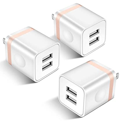 STELECH USB Wall Charger, 3-Pack 2.1A Dual Port USB Power Adapter Wall Charger Plug Charging Block Cube Compatible with Phone Xs Max/Xs/XR/X/8/7/6 ...