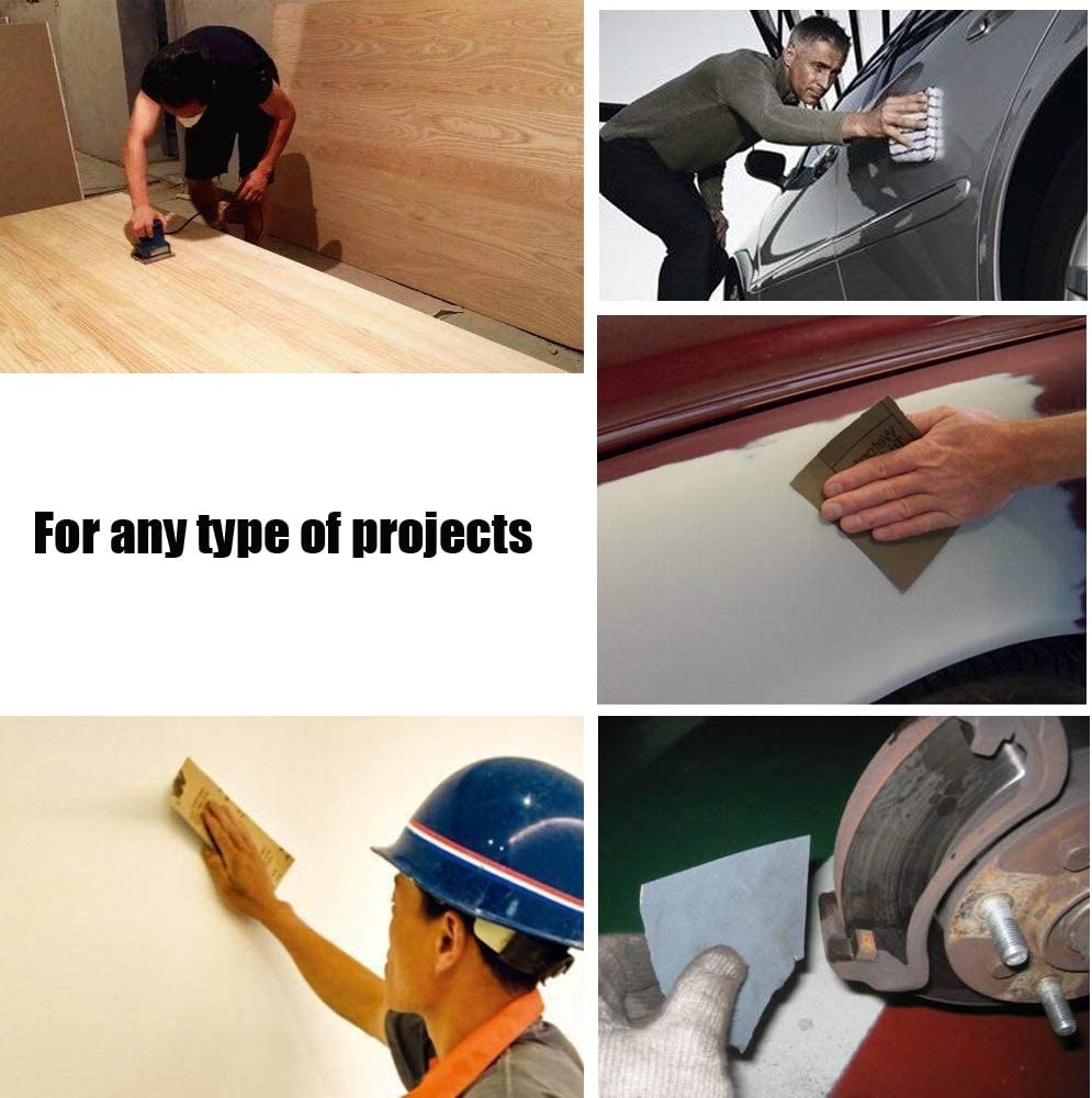 9x3.6 Wet Dry Sandpaper Waterproof Sand Paper,80 Grit 120 Grit 220 Grit Sandpapers Assorted Grits Great for Wood Furniture Finishing Metal Sanding and Automotive Polishing-15Pcs WELLGO Sandpapers