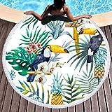 Sleepwish Woodpecker Bird Beach Towel Round Tapestry Beach Throw Roundie Circle Tassel Tablecloth (Tropical Paradise, 60'')
