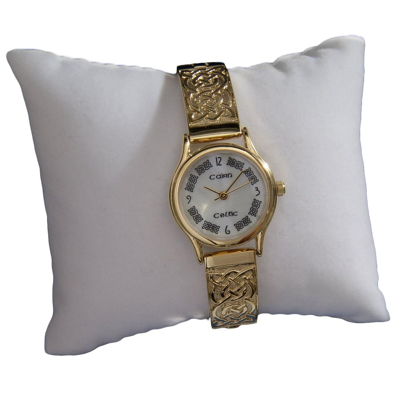 cc3plg4 vergoldet Damen Keltischer Armbanduhr by Cairn mit Mother of Pearl Zifferblatt