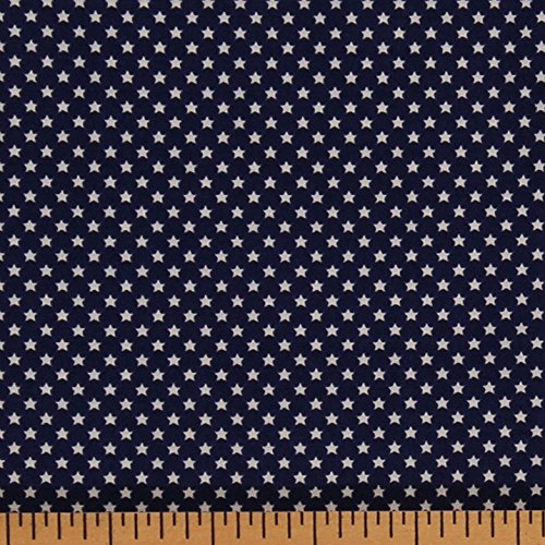 Patriotic Cotton Fabric Stars (Cotton Mary Fons Americana Stars Blue Patriotic Flag Cotton Fabric Print by Yard)
