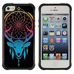 Hybrid Anti-Shock Defend Case for Apple iPhone 5 5S / Cool Neon Deer Dreamcatcher