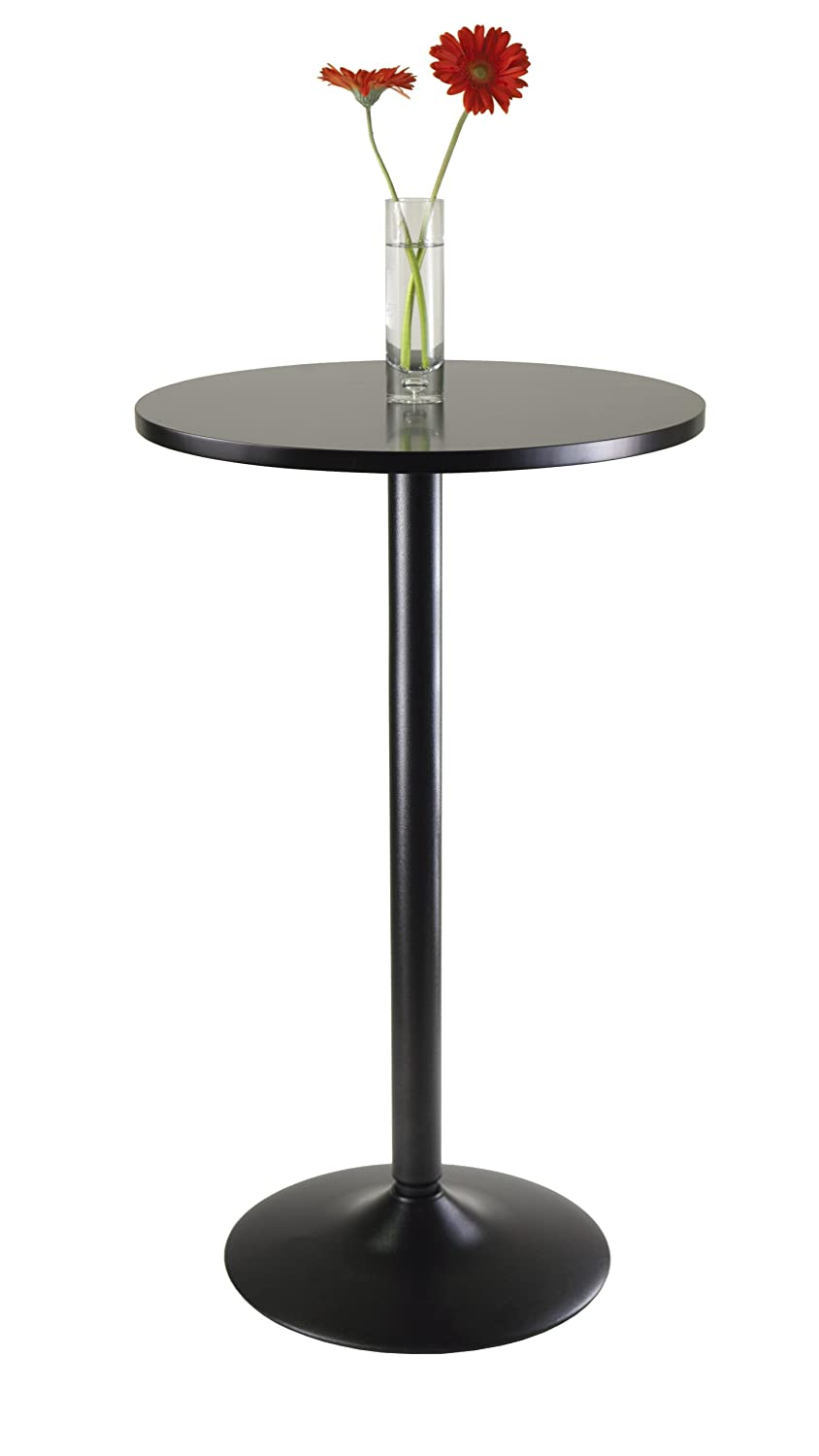 black round table. Amazon.com: Winsome Obsidian Pub Table Round Black Mdf Top With Leg And Base - 23.7-Inch Top, 39.76-Inch Height: Kitchen \u0026 Dining
