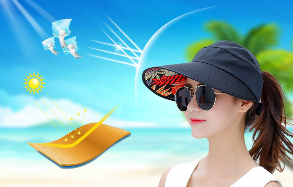 HindaWi Sun Hats for Women Wide Brim UV Protection Visor Hat Floppy Beach Hiking Packable Cap by HindaWi (Image #7)
