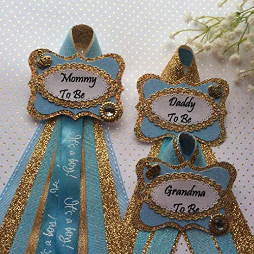 - Gold - Blue Prince Baby Shower Corsage, Gold Prince Theme Baby Shower, Mommy,Daddy and Granmda To Be Corsage